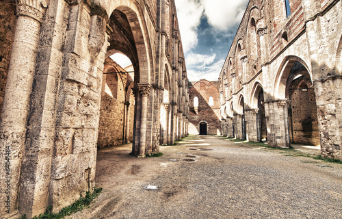 The ancient Abbey of San Galgano, Italy, is a mirable example of - 64041484