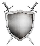 metal medieval shield and crossed swords behind it isolated on w