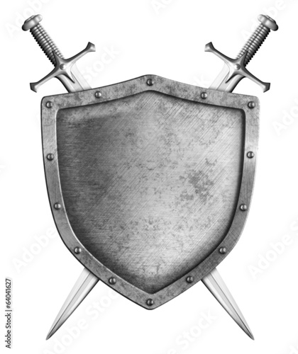 medieval shield with two swords isolated on white