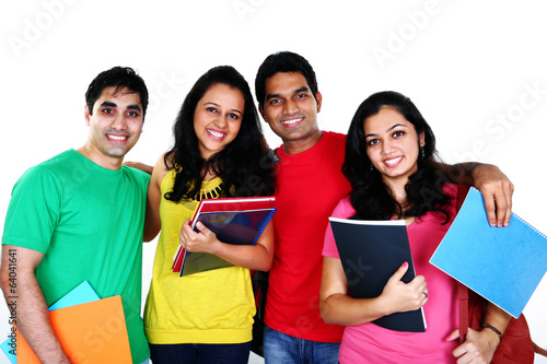Group of smiling friends, isolated on white background