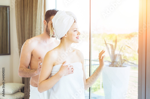 Young Couple at Hotel Room after Shower