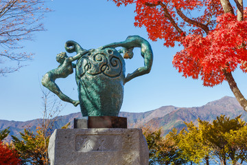 """Source"" sculpture at Lake Kawaguchiko in Japan"