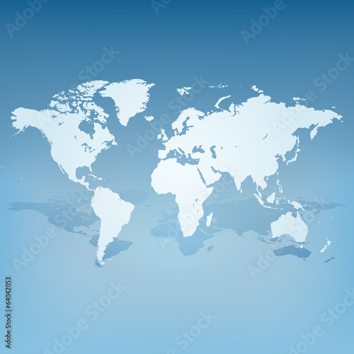 World map with shadow 3d concept vector
