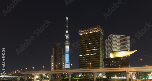 Tokyo city skyline with Skytree at night, Asakusa