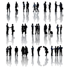 Silhouettes of Business People on White Background