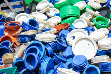 Pile of plastic scrap for recycle