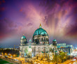 canvas print picture - Berliner Dom. German Cathedral at sunset, aerial view