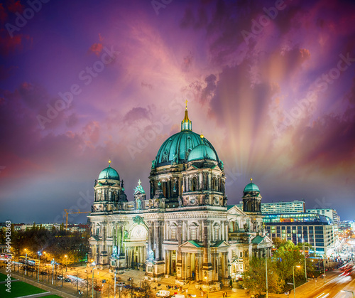 Berliner Dom. German Cathedral at sunset, aerial view