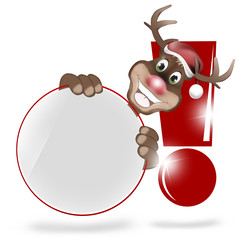 Paws Rudolph Christmas Blank White Icon Button
