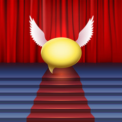 Stage with red carpet and bubble with wings.