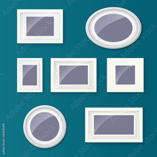 Set of different picture frames and pictures.