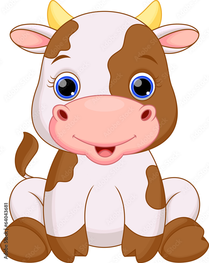 Cute Baby Cow Cartoon Wall Sticker Stickers