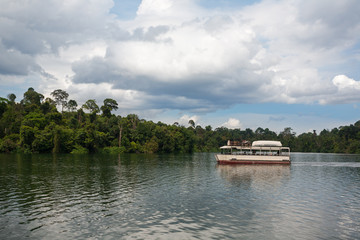 Boat with tourists on the lake in Singapore