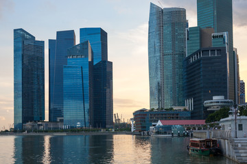Waterfront of Singapore overlooking the Central District