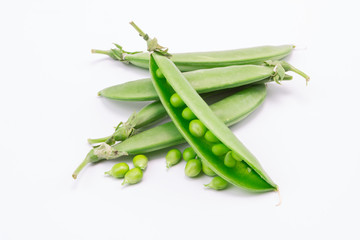 fresh pea on white background