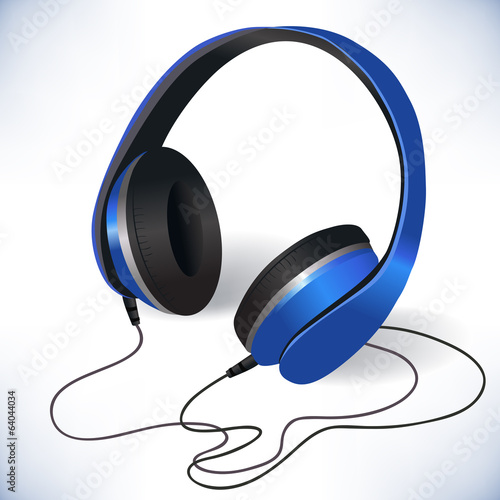 Blue isolated headphones emblem