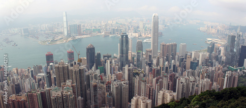 Panorama of Hong Kong from Victoria Gap, near the top of Victori