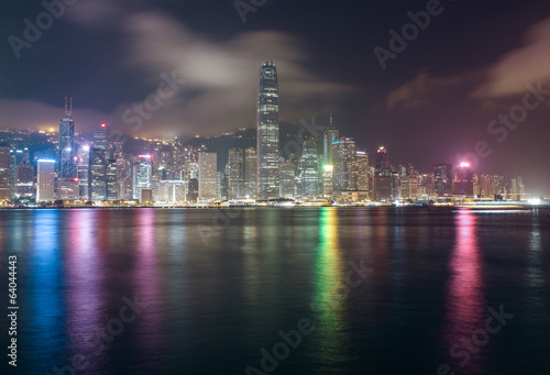 Panorama of Hong Kong Island from Kowloon at night time