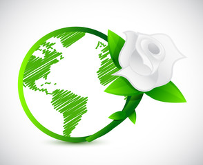 green globe and a rose. illustration design