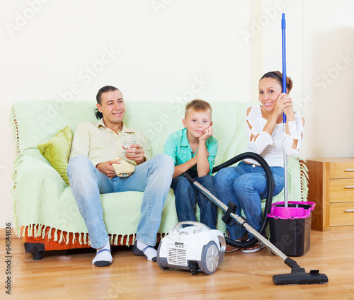 Ordinary family of three finished housework