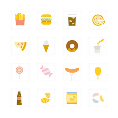 Junk food icon set.