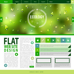 Flat web site design. Ecology background