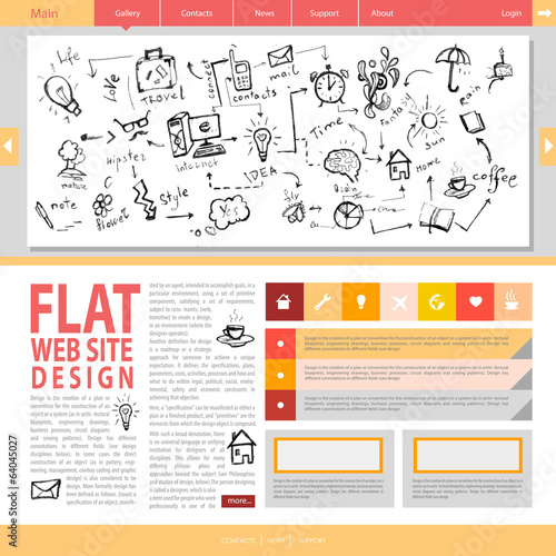 Flat web site design.
