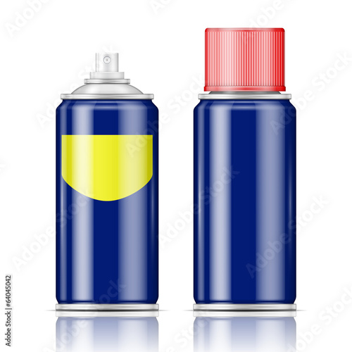 Blue spray can with red cap.