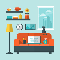 Flat modern design vector concept of home office