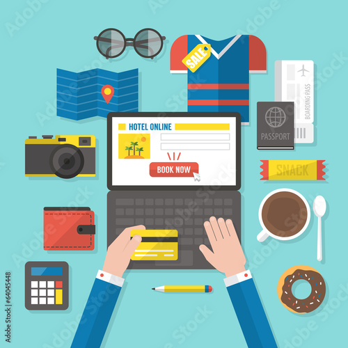 Flat modern design vector concept for online booking