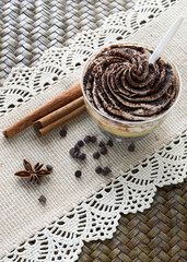 Chocolate dessert with cinnamon