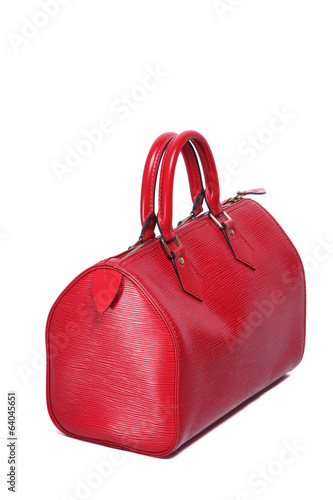 Woman red leather handbag