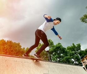 Skateboarder in the skatepark