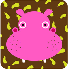Vector icon illustration of cute animal, hippopotamus