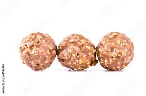 Chocolate ball isolated white background