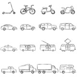 Fototapety Vector Set of Sketch Ground Transportation Icons