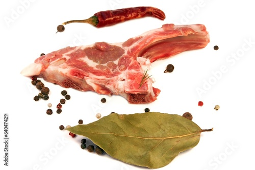 Raw Lamb Chop on White Background