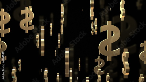 Dollar signs on black background