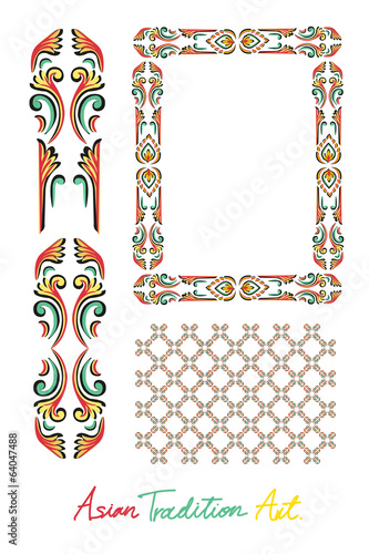 Asian tradition style art collection, border,element,pattern
