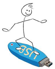 personnage qui surf sur une clé usb