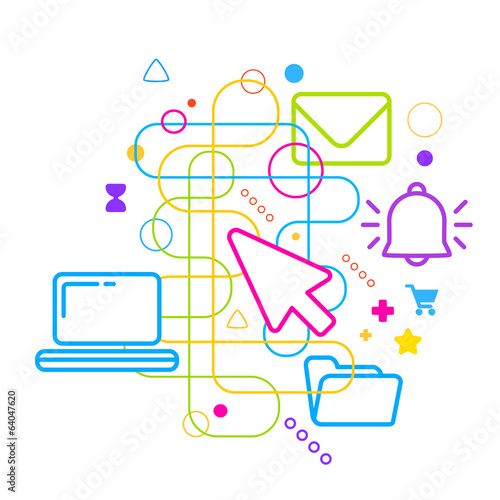 Symbols of office work on abstract colorful light background wit