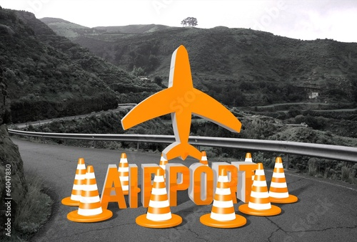 airport sign on a road