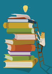 Businessman climb up the ladder for find ideas form books