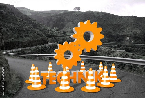 technique (English technical) sign on a road