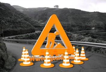 Wartungsarbeiten sign on a road