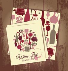 Wine menu card and seamless wine pattern.