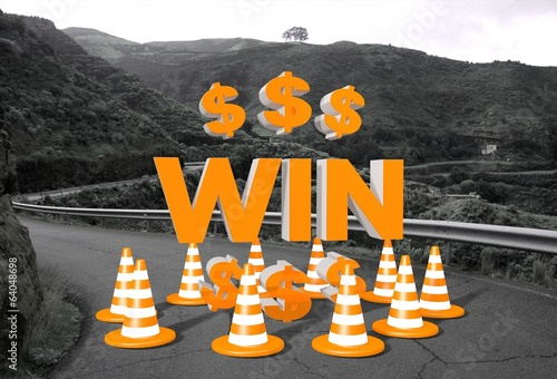 win sign on a road