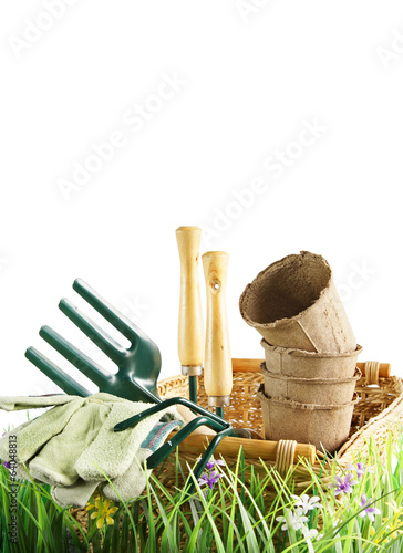 Composition about gardening isolated over white background