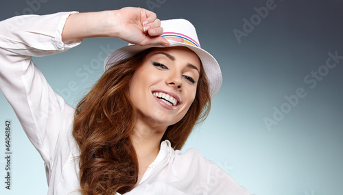 Smiling woman in studio portrait
