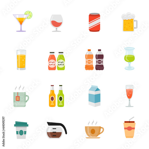 Beverage icon full color flat icon design